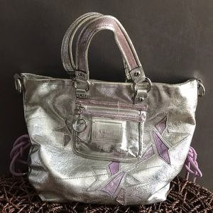 Silver authentic Poppy Coach hand bag